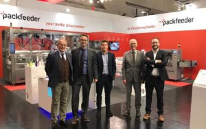 Packfeeder as bottle unscrambling experts at FachPack 2019.